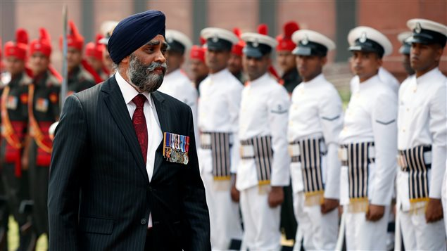Canada's Defence Minister Harjit Sajjan inspects an honour guard during his ceremonial reception in New Delhi, India April 18, 2017