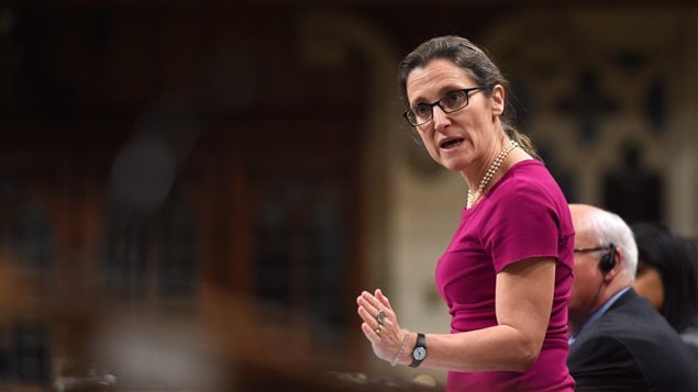 Minister of Foreign Affairs Chrystia Freeland responds to a question during question period in the House of Commons on Parliament Hill in Ottawa on Thursday, April 13, 2017.