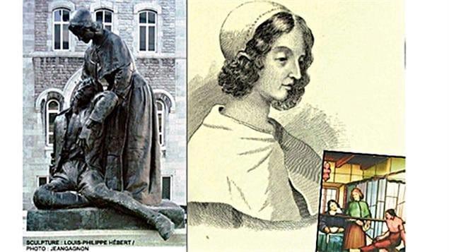 Dibujos y Estatua en homenaje a Jeanne Mance del escultor Louis-Philippe Hébert