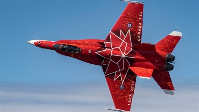 The only jet aircraft taking part is this Canadian Armed Forces CF-18 fighter painted in Canada 150 colours. It will be at five of the northern shows.