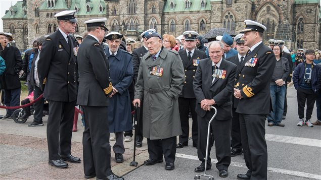 Royal Canadian Navy Command staff speak with veterans shortly before the Battle of the Atlantic ceremony on Parliament Hill  Ottawa on May 1st, 2016.