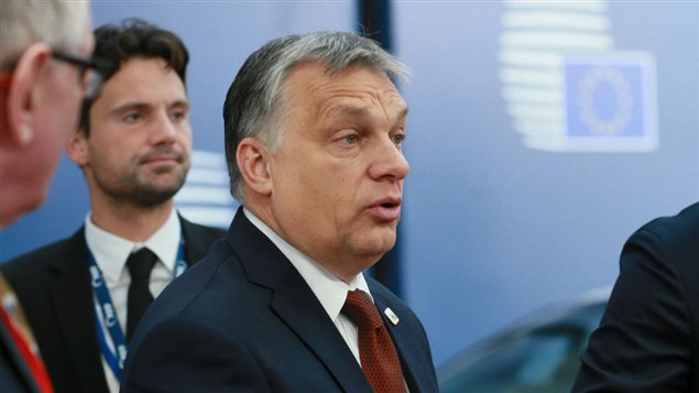 Hungarian Prime Minister Viktor Orban arrives at a special EU leaders' meeting of the European Council to adopt the guidelines for the Brexit talks, in Brussels on April 29, 2017.