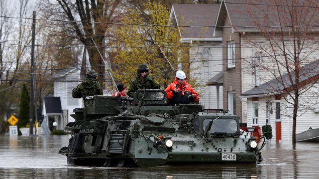 Over 1200 military personnel have been called out to help with the flodd situation in Quebec. More are expected today.