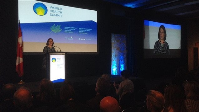 Federal Health Minister Dr. Jane Philpott addresses the World Health Summit in Montreal on May 8, 2017. Philpott acknowledged that addressing the health needs of Canada's First Nations is one of the biggest challenges facing her government.