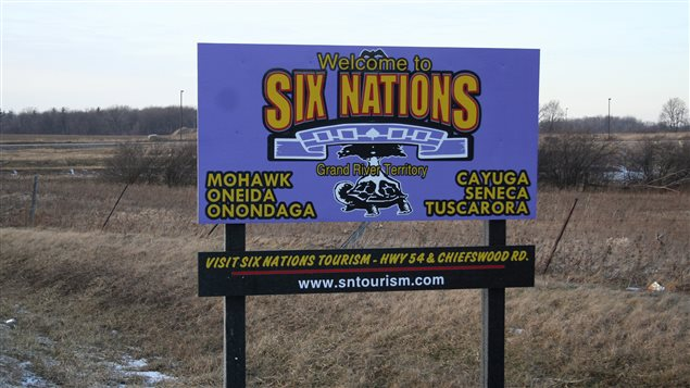 A sign at the entrance of the Six Nations of the Grand River reserve in southwestern Ontario in the Six Nations Reserve January 31, 2008. Picture taken January 31, 2008.