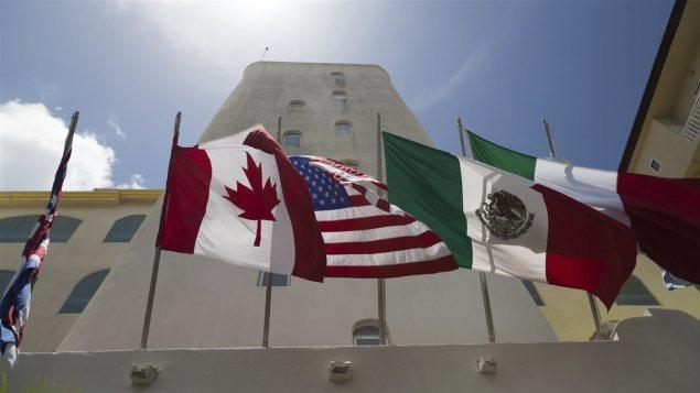 Las banderas de los tres socios en el TLCAN