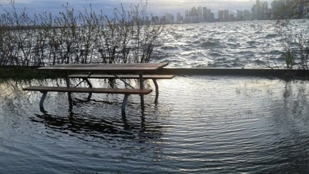 Lake Ontario water levels have risen flooding parts of Toronto Island, a favourite playground just off Canada's largest city.