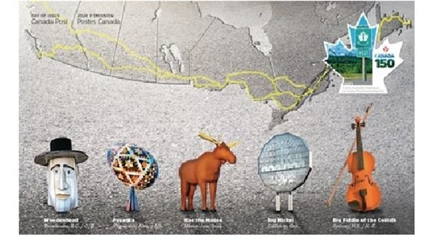 The first day cover shows the route of the Trans-Canada Highway traced in yellow stretching across the country. and five of the many giant roadside statues one could see.