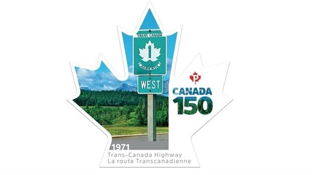 The newest in the series of stamps celebrating Canada's 150th anniversary, this one to celebrate the Trans-Canada Highway