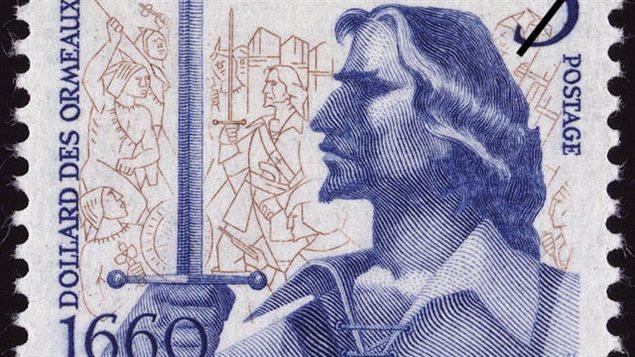 Timbre à l'effigie de Dollard des Ormeaux, émis par Postes Canada en 1960.