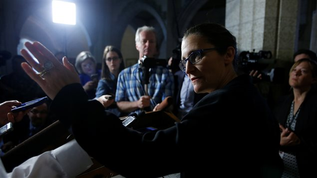 Canada's Foreign Minister Chrystia Freeland speaks to journalists on Parliament Hill in Ottawa, Ontario, Canada May 18, 2017.
