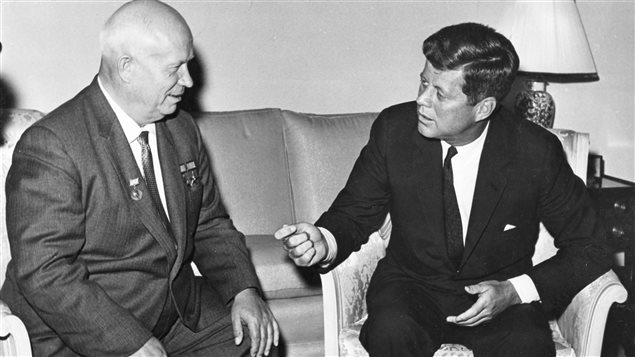 Former United States President John F. Kennedy (R) meets with Nikita Khrushchev, former chairman of the council of Ministers of the Soviet Union, at the U.S. Embassy residence in Vienna, Austria in this June 1961 handout image.