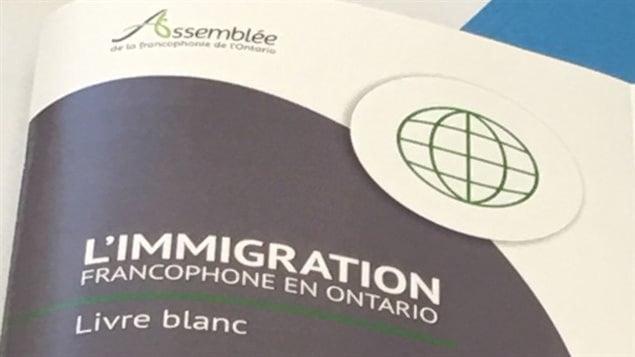 Le Livre blanc sur l'immigration francophone en Ontario.