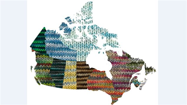 A map of Canada shows the 13 new yarn colours created to mark Canada's 150th anniversary as a country.
