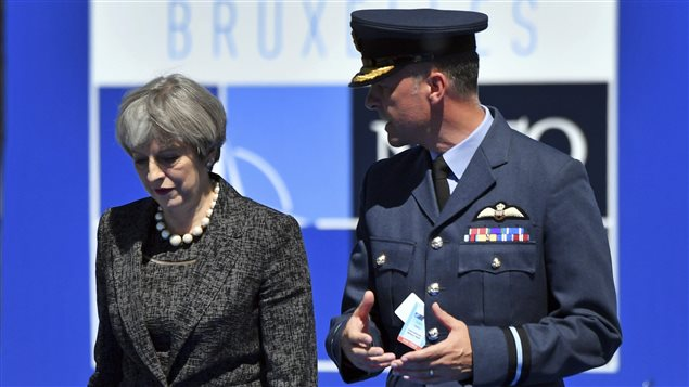 Arriving at the NATO summit, British Prime Minister Theresa May will want to discuss intelligence and the leak of information about the Manchester bombing.