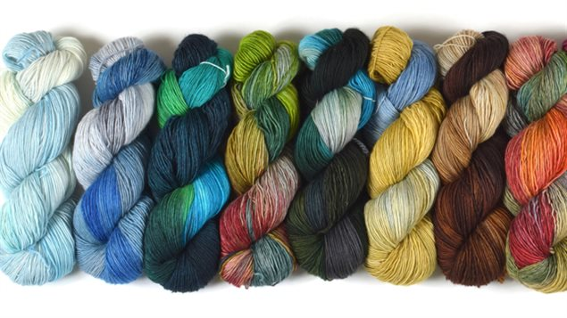 Some of the yarn colours that were inspired by national parks across Canada.