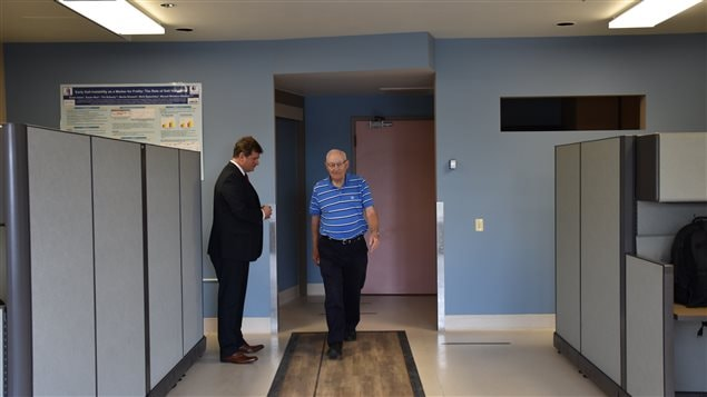 Study participant Roy Bratty, 82, demonstrates the walking and talking gait test with Dr. Manuel Montero-Odasso,a Lawson scientist, geriatrician at St. Joseph's Health Care London, and associate professor in the Division of Geriatric Medicine at Western University's Schulich School of Medicine & Dentistry.