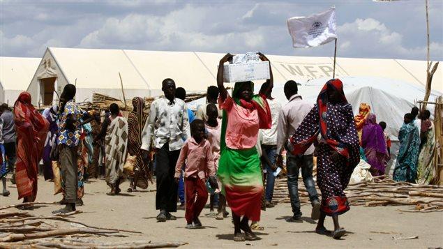 A picture shows South Sudanese refugees at a UN camp in al-Waral, in Sudan's White Nile state, south of Khartoum, on May 18 2017.