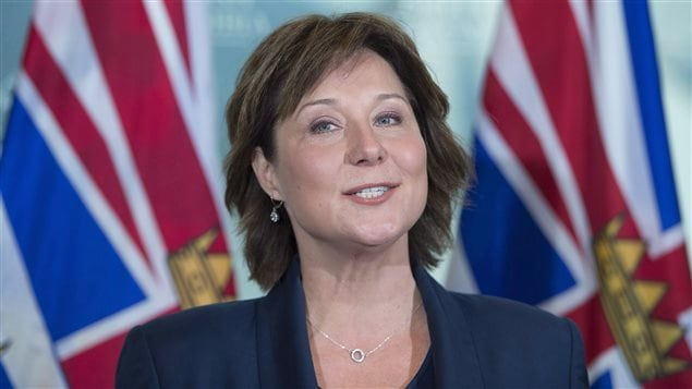 British Columbia Premier Christy Clark addresses the media at her office in Vancouver, B.C., Wednesday, May 10, 2017.
