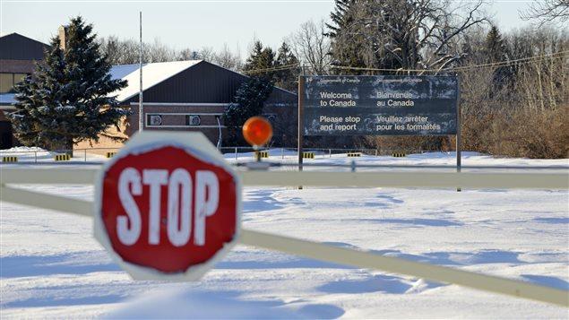 La frontière abandonnée de Noyes l'hiver à proximité d'Emerson, au Manitoba.