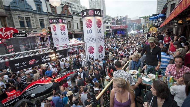 La rue Crescent, à Montréal, durant le Grand Prix du Canada.Photo Credit: PC / Peter Mccabe