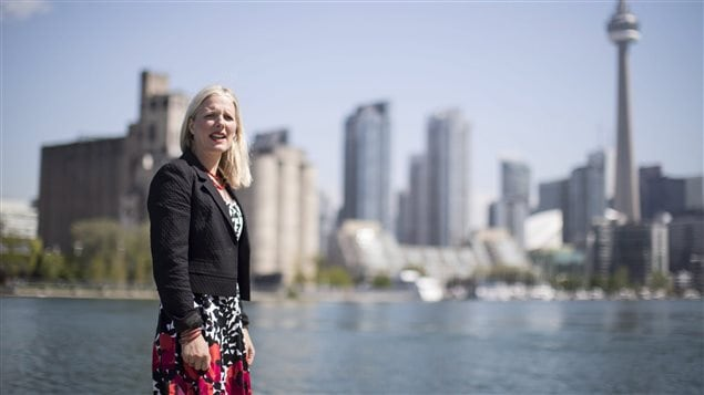 Environment Minister Catherine McKenna is pictured after delivering a policy announcement in Toronto , on Wednesday May 31 , 2017. McKenna says the Canadian government remains committed to the Paris Accord amid concerns that the U.S. will walk away from the landmark global climate agreement.