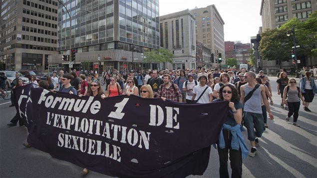 A demonstration in downtown Montreal against sexual exploitation during the F1 race in 2012