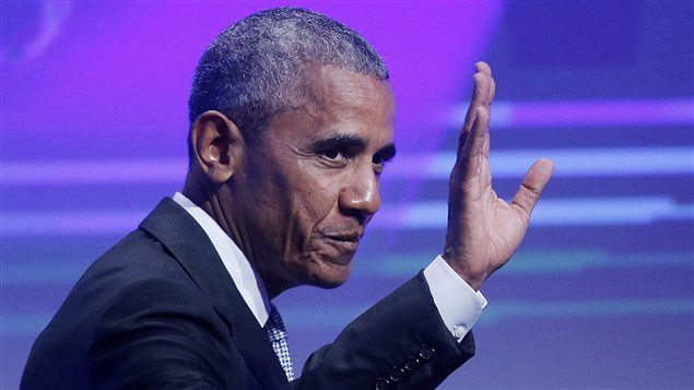 Former US President Barack Obama waves before he is awarded the German Media Prize 2016 in Baden-Baden, Germany on May 25, 2017. Former U.S. president Barack Obama will be in Montreal today to deliver a keynote speech to a sold-out audience at the city's convention centre. It will be his first visit to Canada since he left the White House in January.
