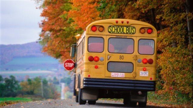 Un autobus scolaire roule sur une route, l'automne.