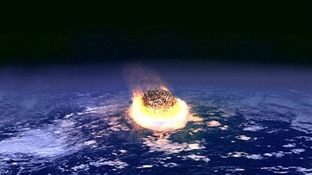 An artist's rendering of an asteroid a few kilometers across colliding with the Earth 65 million years ago. Asteroid impact and volcanic activity are believed to have caused the fifth mass extinction of about 76% of life on Earth, including the dinosaurs. Such an impact can release the equivalent energy of several million nuclear weapons detonating simultaneously