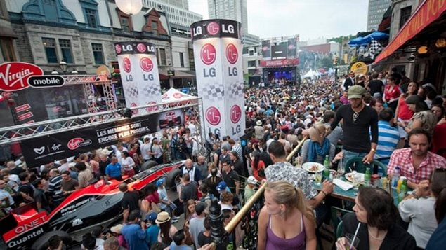 Crescent Street (shown 2013) in downtown Montreal is closed to traffic on race weekend, the bars packed and several events taking place. The race brings in millions of dollars to the Montreal economy.