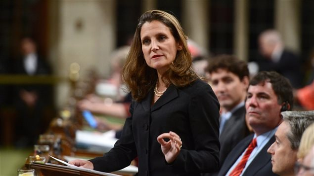 Minister of Foreign Affairs Chrystia Freeland delivers a speech in the House of Commons on Canada's Foreign Policy in Ottawa on Tuesday, June 6, 2017.