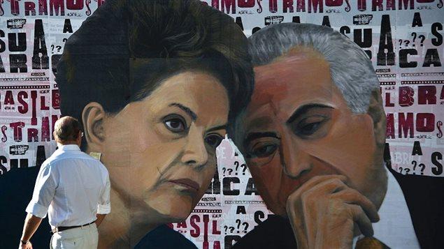Un graffiti de Dilma Rousseff y Michel Temer