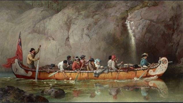 'Canoë équipé par des voyageurs qui passent une chute d'eau', peinture de Frances Ann Hopkins (ca 1869).