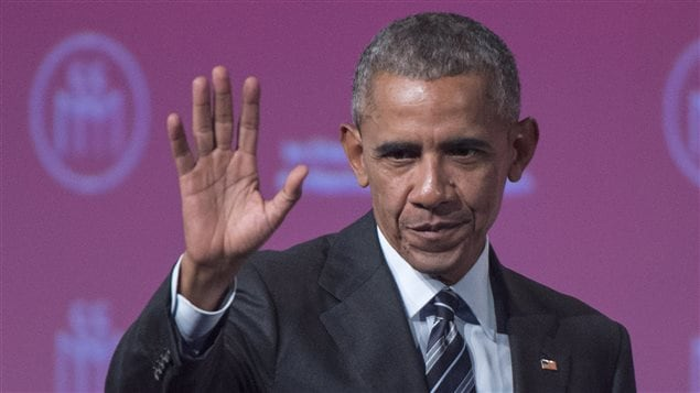 Former U.S. President Barack Obama waves to the crowd following a speech before the Montreal Board of Trade Tuesday, June 6, 2017 in Montreal.