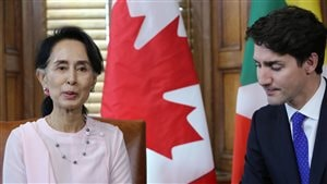 Myanmar State Counsellor Aung San Suu Kyi meets with Canadian Prime Minister Justin Trudeau in Ottawa, Ontario, on June 7, 2017.