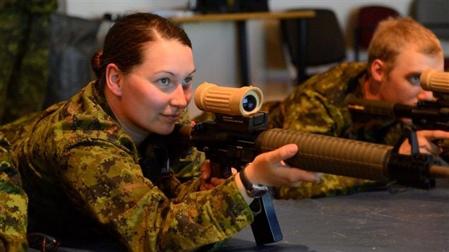Erica Pressling from Kingston, Ontario participates in C7 weapons training at the small arms training facility as part of the Canadian Forces Aboriginal Entry Program (CFAEP).