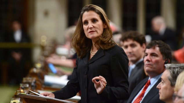 La ministre des Affaires étrangères du Canada, Chrystia Freeland.