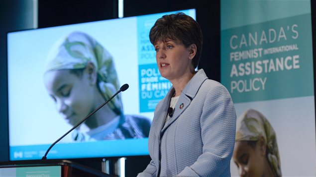 Minister of International Development Marie-Claude Bibeau launches Canada's new Feminist International Assistance Policy during an event in Ottawa, Friday June 9, 2017.