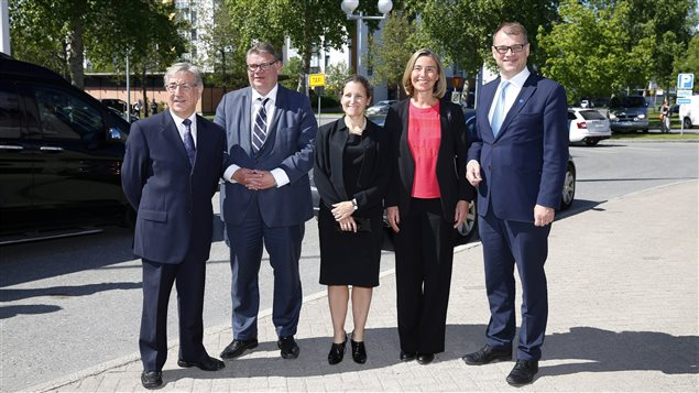 EU Environment commissioner Karmenu Vella, Finnish Foreign Minister Timo Soini, Canadian Foreign Minister Chrystia Freeland, European Union High Representative for Foreign Affairs Federica Mogherini and Finnish Prime Minister Juha Sipila meet to open an event on EU Arctic policy in Oulu, Finland June 15, 2017.