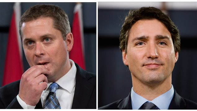 Conservative leader Andrew Sheer (left) is seen as the better leader on economy, while Prime Minister Justin Trudeau is still seen as the better overall prime minister, according to a new poll by the Angus Reid Institute.
