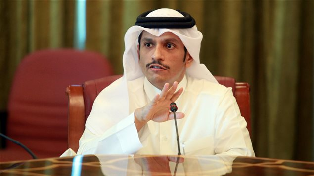 Qatar's foreign minister Sheikh Mohammed bin Abdulrahman al-Thani gestures as he speaks to reporters in Doha, Qatar, June 8, 2017.