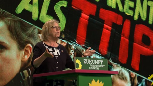 Elizabeth May called for Greens to create a more inclusive world, and one where trade agreements benefit all the people, not just the multinational corporations.
