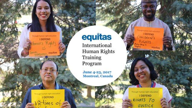 """أحد ملصقات """"المركز الدولي لتعليم حقوق الإنسان"""" (Equitas) بمناسبة الذكرى السنوية الخمسين لتأسيسه."""