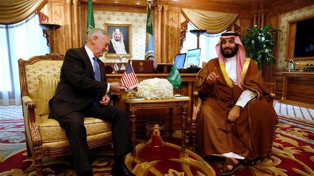 لقاء بين وزير الدفاع السعودي الأمير محمد بن سلمان بن عبد العزيز ونظيره الأميركي جيمس ماتيس في الرياض في 19 نيسان (أبريل) الفائت وكان الأمير آنذاك ولياً لولي العهد في بلاده.