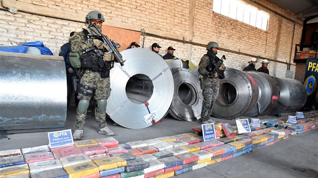 Photo released by TELAM showing the some two tons of cocaine hidden in steel coils seized in an industrial park in Bahia Blanca, Argentina, on June 19, 2017 in the largest shipment of this drug found in the last 12 years, Security Minister Patricia Bullrich said Monday.