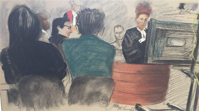 Témoignage par visioconférence au procès de Bertrand Charest Photo : Radio-Canada/Dessin de cour