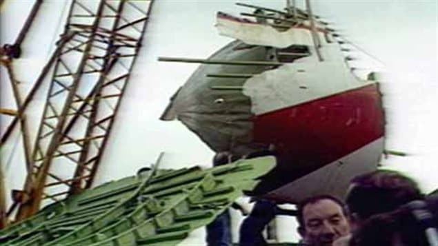 In a massive operation, wreckage was recovered off the ocean floor. Eventually it would be determined that a bomb in a forward cargo hold brought down the plane
