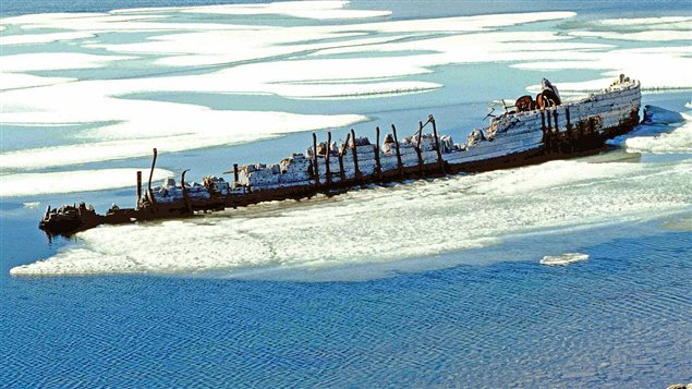 The wreck of the Maud, across from Cambridge Bay circa 1998