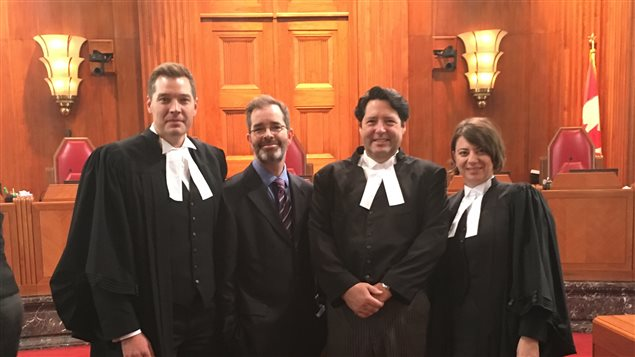 CIPPIC's team at the Supreme Court of Canada on the day of the hearings.From left to right: Jeremy de Beer, David Fewer, Paul Bates and Marina Pavlovic